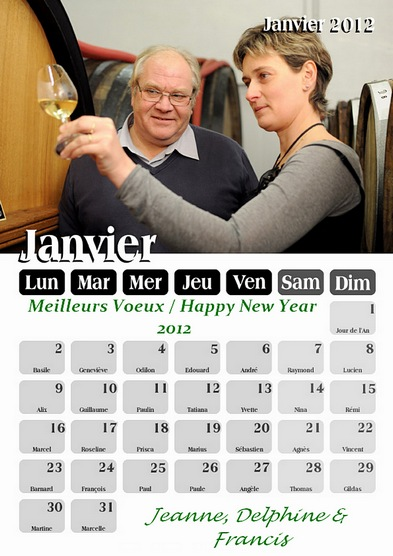 Champagne -Dates de vendanges 2012 - Bonne Année - Happy New Year
