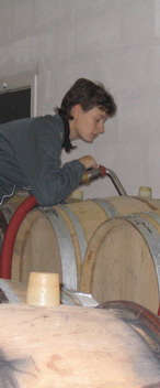 filling up barrels - harvest 2006 - champagne